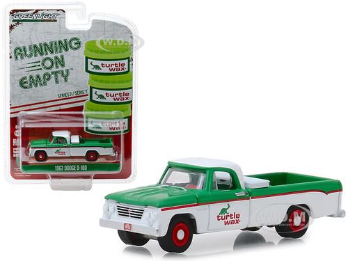 1962 Dodge D-100 Turtle Wax Pickup Truck White Green Running on Empty Series 7 1/64 Diecast Model Car Greenlight 41070 B