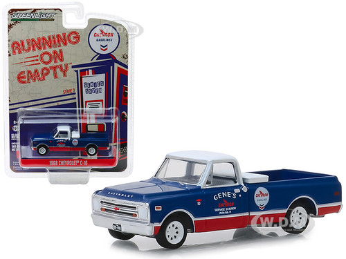 1968 Chevrolet C-10 Chevron Pickup Truck Blue Red White Top Running on Empty Series 7 1/64 Diecast Model Car Greenlight 41070 C