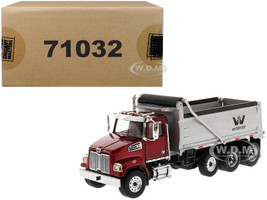 Western Star 4700 SF Dump Truck Metallic Red Silver Body 1/50 Diecast Model Diecast Masters 71032