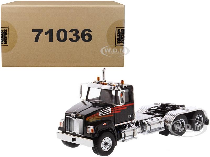 Western Star 4700 SF Tandem Day Cab Tractor Metallic Black 1/50 Diecast Model Diecast Masters 71036