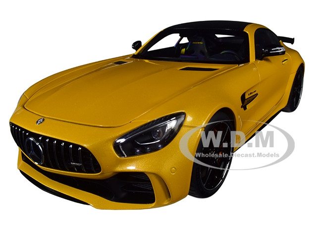 Mercedes AMG GT R AMG Solarbeam Yellow Metallic Carbon Top 1/18 Model Car Autoart 76332