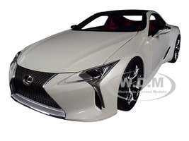 Lexus LC500 Metallic White Dark Rose Interior Carbon Top 1/18 Model Car Autoart 78872