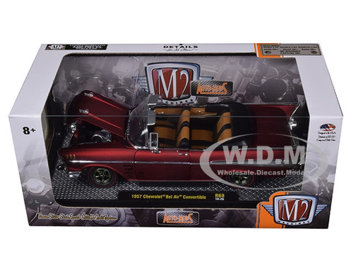 M2 Machines 1:24 1957 Chevy Bel Air Convertible RED Auto Mods R68 1 of 5880 made