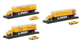 Auto Haulers Coca Cola Release Set 3 Trucks Yellow 1/64 Diecast Models M2 Machines 56000-YR01