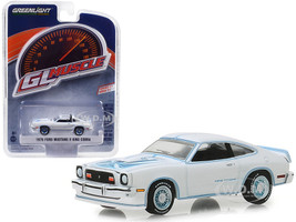 1978 Ford Mustang II King Cobra White Blue Stripes Greenlight Muscle Series 21 1/64 Diecast Model Car Greenlight 13230 C