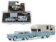 1955 Chevrolet Nomad Shasta Airflyte Awning Light Blue Cream Hitch & Tow Series 16 1/64 Diecast Models Greenlight 32160 A