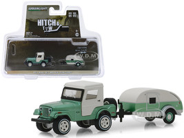 1972 Jeep CJ-5 Half-Cab Teardrop Trailer Metallic Green Cream Hitch & Tow Series 16 1/64 Diecast Models Greenlight 32160 B