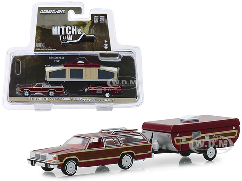 1981 Ford LTD Country Squire Pop-Up Camper Trailer Dark Red Wood Paneling Hitch & Tow Series 16 1/64 Diecast Models Greenlight 32160 C