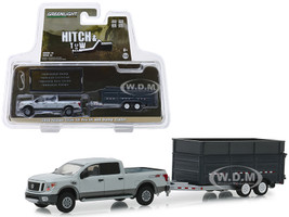 2018 Nissan Titan XD Pro-4X Pickup Truck Double-Axle Dump Trailer Gray Hitch & Tow Series 16 1/64 Diecast Models Greenlight 32160 D