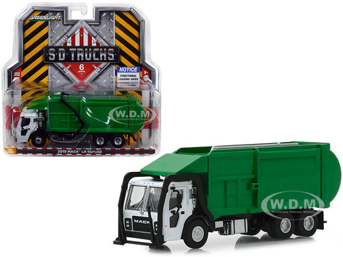 2019 Mack LR Refuse Garbage Truck White Green SD Trucks Series 6 1/64 Diecast Model Greenlight 45060 C