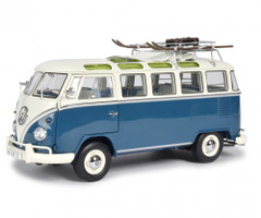 Volkswagen T1b Samba Bus Wintersport Blue White Roof Rack Ski Equipment Luggage Limited Edition 750 pieces Worldwide 1/18 Diecast Model Schuco 450037600
