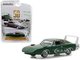 1969 Dodge Charger Daytona Mod Top Green White Stripe 50th Anniversary Anniversary Collection Series 7 1/64 Diecast Model Car Greenlight 27970 B