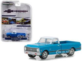 1972 Chevrolet C-10 Pickup Truck Blue White Top Black Stripes 100 Years Anniversary Chevrolet Trucks Anniversary Collection Series 7 1/64 Diecast Model Car Greenlight 27970 C