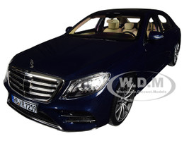 2018 Mercedes Benz S Class AMG Line Sunroof Metallic Dark Blue 1/18 Diecast Model Car Norev 183478