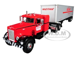 "Peterbilt 351 36"" Sleeper Cab 40' Vintage Trailer West Coast Fast Freight Red Gray 24th Fallen Flags Series 1/64 Diecast Model First Gear 60-0491"