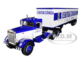 Peterbilt 351 Day Cab 40' Vintage Trailer Burgermeister Blue White 25th Fallen Flags Series 1/64 Diecast Model First Gear 60-0492