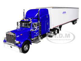 "Peterbilt 379 63"" High Roof Sleeper Cab 53' Utility Dry Goods Trailer A M Express Inc Blue White 1/64 Diecast Model DCP 34282"