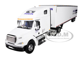 Freightliner Columbia High Roof Sleeper Cab 53' Utility Dry Goods Trailer Munson Transportation White 1/64 Diecast Model DCP 34283