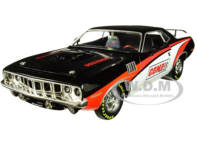 1971 Plymouth HEMI Barracuda Comp Cams Black White Red Limited Edition 5880 pieces Worldwide 1/24 Diecast Model Car M2 Machines 40300-71 B