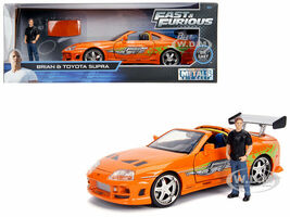 Toyota Supra Metallic Orange Brian Diecast Figure Fast & Furious Movie 1/24 Diecast Model Car Jada 30738