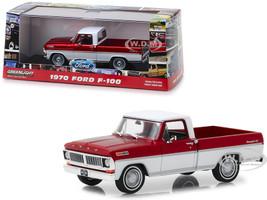 1970 Ford F-100 Ranger XLT Pickup Truck Candy Apple Red Wimbledon White 1/43 Diecast Model Car Greenlight 86318