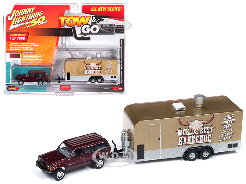 Jeep Cherokee XJ Sport Claret Red Metallic Food Concession Trailer Limited Edition 4000 pieces Worldwide Tow and Go Series 1 1/64 Diecast Model Car Johnny Lightning JLTG001 A