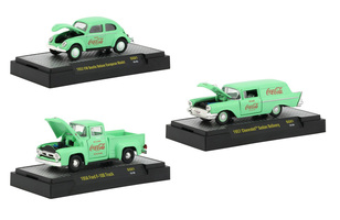 Coca Cola Green Set 3 Cars Limited Edition 4800 pieces Worldwide Hobby Exclusive 1/64 Diecast Model Cars M2 Machines 52500-GG01