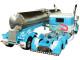 "Peterbilt 389 63"" Flattop Sleeper Cab Walker Sanitary Tanker Trailer Mies & Sons Trucking Blue White 1/64 Diecast Model DCP First Gear 60-0454"