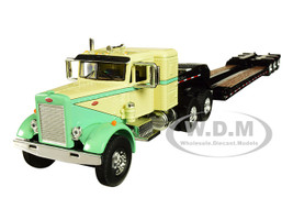 "Peterbilt 351 36"" Sleeper Cab Tri-Axle Lowboy Trailer Green Tan 1/64 Diecast Model DCP First Gear 60-0509"