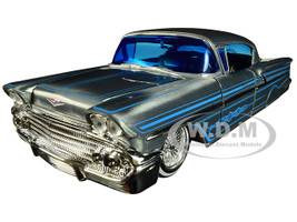 1958 Chevrolet Impala Raw Metal Blue Line Details Street Low Jada 20th Anniversary 1/24 Diecast Model Car Jada 31082
