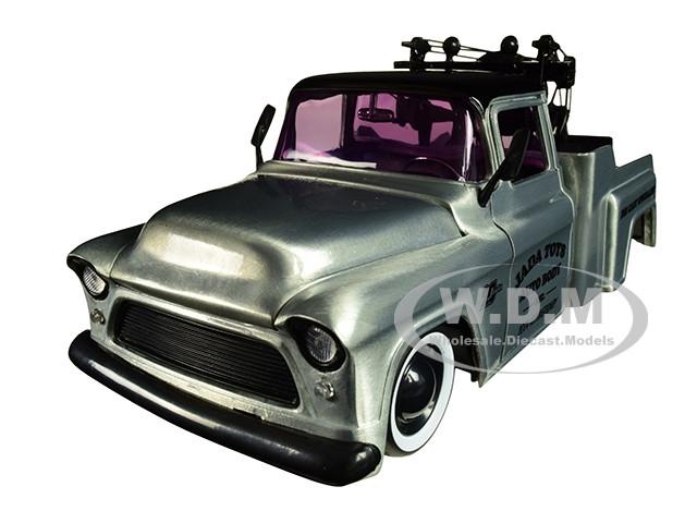 1955 Chevrolet Stepside Tow Truck Raw Metal Black Top Kustom Kings Jada 20th Anniversary 1/24 Diecast Model Car Jada 31087
