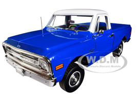 1970 Chevrolet C-10 Pickup Truck Lift Kit Dark Blue White Top 1/18 Diecast Model Car Highway 61 18011