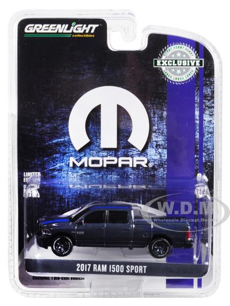 2017 RAM 1500 Sport Pickup Truck Bed Cover Metallic Dark Blue Blue Stripe MOPAR Hobby Exclusive 1/64 Diecast Model Car Greenlight 30013
