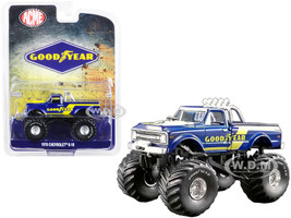 1970 Chevrolet K-10 Monster Truck Goodyear Dark Blue Yellow Stripes ACME Exclusive 1/64 Diecast Model Car Greenlight ACME 51267