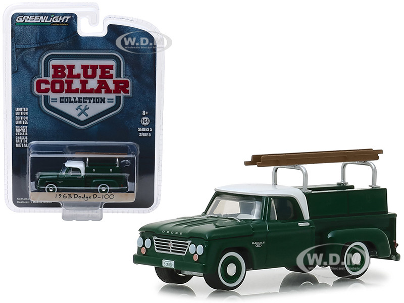 b3c270ea6ec3 1963 Dodge D-100 Pickup Truck with Ladder Rack Green with White Top