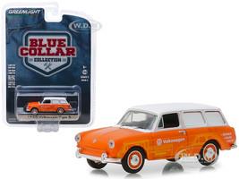 1966 Volkswagen Type 3 Panel Van Volkswagen Sales and Service Orange White Top Blue Collar Collection Series 5 1/64 Diecast Model Car Greenlight 35120 C