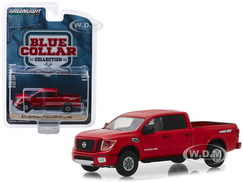 2018 Nissan Titan XD Pro-4X Pickup Truck Metallic Red Blue Collar Collection Series 5 1/64 Diecast Model Car Greenlight 35120 F