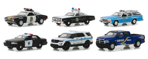 Hot Pursuit Series 30 Set 6 Police Cars 1/64 Diecast Models Greenlight 42870