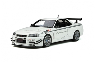 Nissan Skyline GT-R R34 Mine's RHD Right Hand Drive Pearl White Limited Edition 2000 pieces Worldwide 1/18 Model Car Otto Mobile OT760