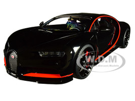 Bugatti Chiron Nocturne Black Red Accents 1/18 Model Car Autoart 70991