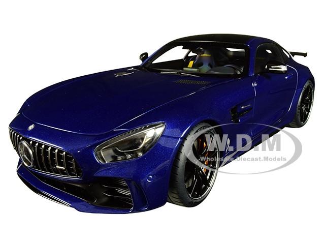 Mercedes AMG GT R Brilliant Blue Metallic Carbon Top 1/18 Model Car Autoart 76334