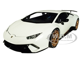 Lamborghini Huracan Performante Bianco Monocerus Solid White Gold Wheels 1/18 Model Car Autoart 79151