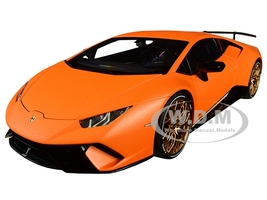 Lamborghini Huracan Performante Arancio Anthaeus Matt Orange Gold Wheels 1/18 Model Car Autoart 79152