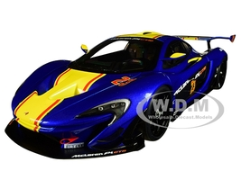 McLaren P1 GTR #23 Metallic Blue Yellow Stripe 1/18 Model Car Autoart 81542