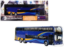 TransBus Alexander Dennis Enviro500 Double Decker Bus MTA New York City Transit Blue 1/87 Diecast Model Iconic Replicas 87-0120