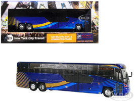 MCI D45 CRT LE Commuter Coach Transit Bus x37 Midtown MTA New York City Transit Blue 1/87 Diecast Model Iconic Replicas 87-0136