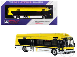 New Flyer Xcelsior Transit Bus Hertz Car Rentals Yellow 1/87 Diecast Model Iconic Replicas 87-0139