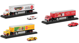 Auto Haulers Coca Cola Set 3 Trucks Quick Lunch Release 1/64 Diecast Models M2 Machines 56000-QL01