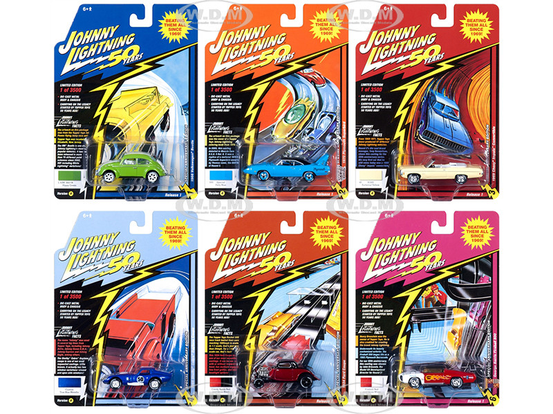 Classic Gold 2019 Release 1 Set A 6 Cars Johnny Lightning 50th Anniversary 1/64 Diecast Models Johnny Lightning JLCG018 A