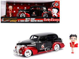1939 Chevrolet Master Deluxe Black Betty Boop Diecast Figure Hollywood Rides Series 1/24 Diecast Model Car Jada 30695